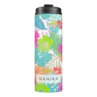 PixDezines Rainforest/Hibiscus/Orange/Yellow/Blue Thermal Tumbler
