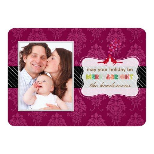 PixDezines raspberry damask holiday wishes card