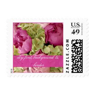 PixDezines raspberry peonies+green hydrangeas Postage