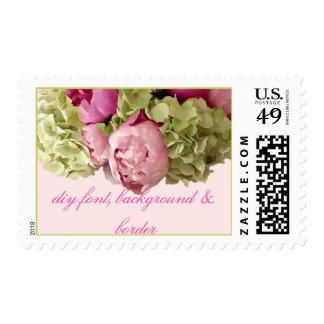 PixDezines raspberry peonies+green hydrangeas Postage Stamp
