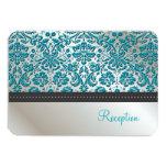 PixDezines reception/Baroque faux foil lace/teal 3.5x5 Paper Invitation Card