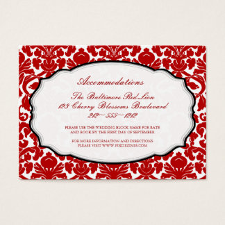 PixDezines red  flora damask/accommodations Business Card