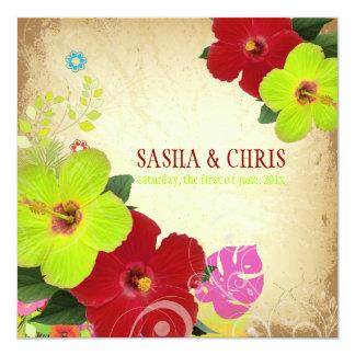 PixDezines red+green hibiscus+monstera Personalized Invite