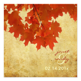 PixDezines red maple leaves fall autumn event Custom Invitations