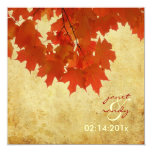 PixDezines red maple leaves/fall/autumn event 5.25x5.25 Square Paper Invitation Card
