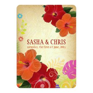 PixDezines red+orange hibiscus+monstera Card