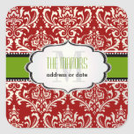 PixDezines Red+White Rossi Damask/Christmas Square Stickers