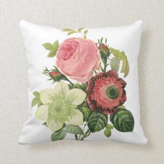 PixDezines redoute anemonies, roses Throw Pillow