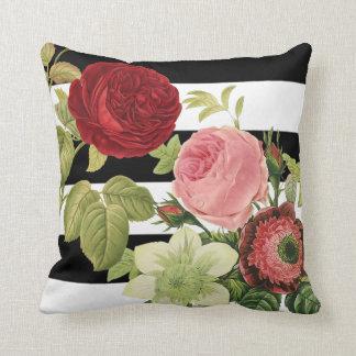 PixDezines redoute anemonies, vintage roses Throw Pillow