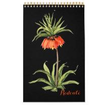 PixDezines Redoute Vintage Botanical Illustrations Calendar