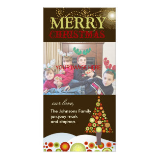 PixDezines Retro Christmas Ornaments Tree Card