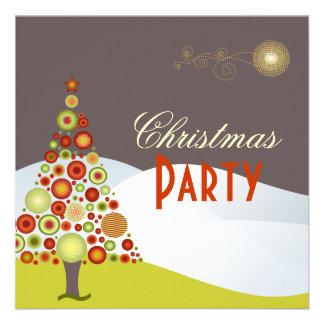 PixDezines Retro Christmas Ornaments Tree Custom Invites