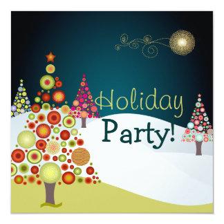 PixDezines Retro Christmas Ornaments Tree Custom Invite