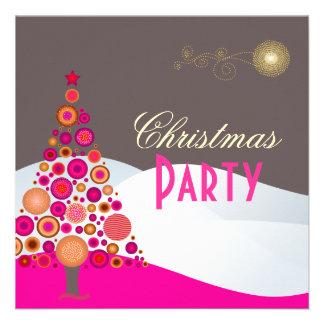 PixDezines Retro Christmas Ornaments Tree Personalized Invite
