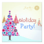 "PixDezines Retro Christmas Ornaments Tree 5.25"" Square Invitation Card"