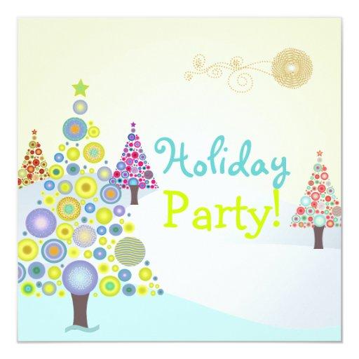 PixDezines Retro Christmas Ornaments Tree Invitation