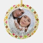 PixDezines Retro Diamonds Photo Template Christmas Tree Ornaments