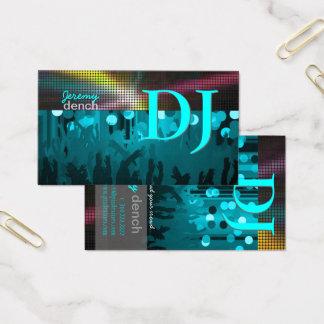 PixDezines Retro DJ+dance hall/aqua blue Business Card