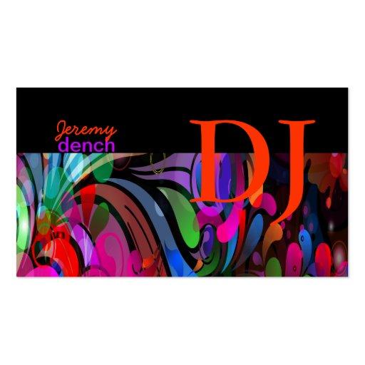 PixDezines Retro DJ+disco swirls/DIY.. Business Card