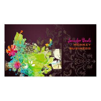 PixDezines retro floral + merlot Business Card Templates