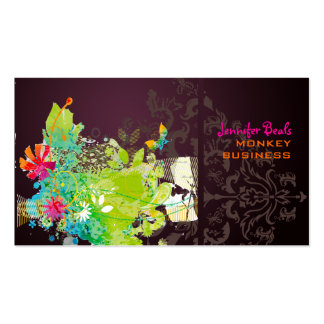 PixDezines retro floral + merlot Double-Sided Standard Business Cards (Pack Of 100)