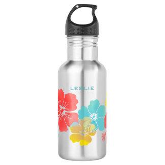 PixDezines retro hibiscus/digital watercolor Water Bottle