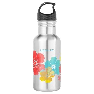 pixdezines PixDezines retro hibiscus/digital watercolor Water Bottle