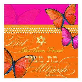 """PixDezines retro Papillon, Bat Mitzvah 5.25"""" Square Invitation Card"""