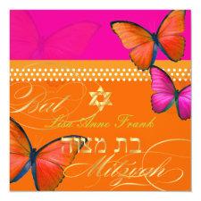 PixDezines retro Papillon, Bat Mitzvah Invitation