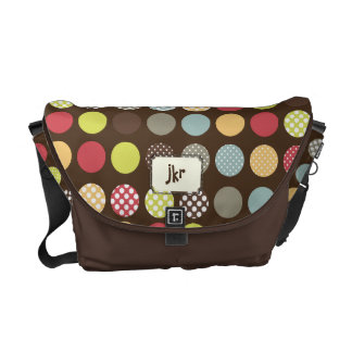 PixDezines Retro Polka Dots/DIY white background Courier Bag