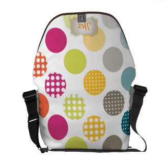 PixDezines Retro Polka Dots/DIY white background Messenger Bag