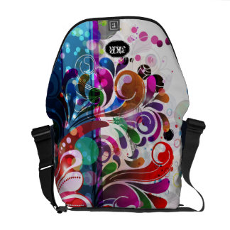 PixDezines retro swirls/diy background colro Messenger Bags