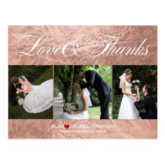 PixDezines Rose Gold/Faux Foil/Wedding Thank You Postcard