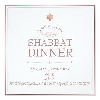 PixDezines Rose Gold Shabbat Dinner Card