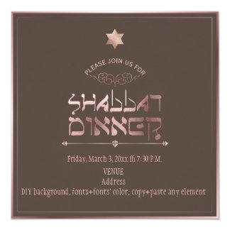 PixDezines Rose Gold Shabbat Dinner/DIY background Card