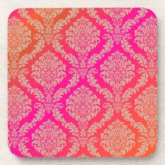 PixDezines Rosette Damask/DIY background color Drink Coaster