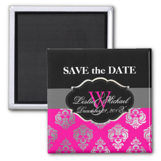 PixDezines Rossellini Damask, Faux Silver+Pink Magnet