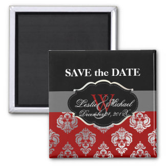 PixDezines Rossellini Damask, Faux Silver+Red 2 Inch Square Magnet