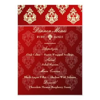 PixDezines Rossellini Damask, Ivory + Red Velvet 5x7 Paper Invitation Card