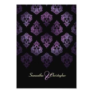 PixDezines Rossellini Damask, Lavender/Black 5x7 Paper Invitation Card