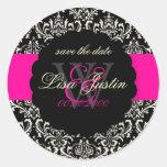 PixDezines Rossi Damask/Black+Hot Pink Classic Round Sticker