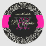 PixDezines Rossi Damask/Black+Hot Pink Round Stickers