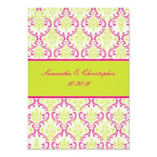 PixDezines Rossi, Damask / Lime+Fuschia 5x7 Paper Invitation Card