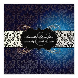 PixDezines Rossi Damask, midnight blue 5.25x5.25 Square Paper Invitation Card