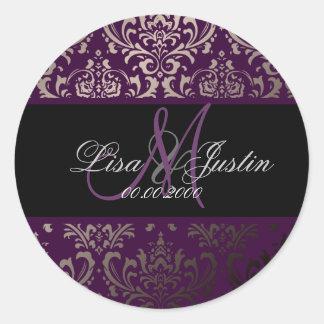 PixDezines Rossi Damask, monogram/DIY color! Classic Round Sticker