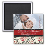 PixDezines Rossi Damask, Photo Save Date 2 Inch Square Magnet
