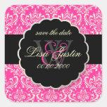 PixDezines Rossi Damask/Pink Square Sticker