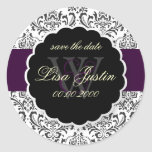 PixDezines Rossi Damask/Purple, DIY Color! Classic Round Sticker