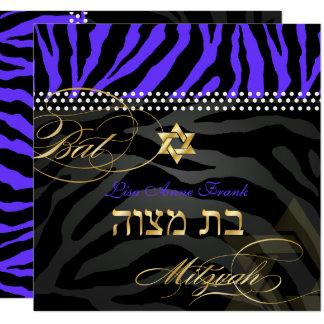 PixDezines Royal Purple Zebra Stripes, Bat Mitzvah Card
