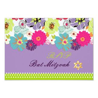 PixDezines rsvp/Alegre retro floral, Bat Mitzvah Card